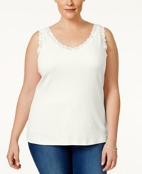 Karen Scott Plus Size Lace Trim Tank Top Only At Macy's Pebble