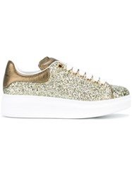 Alexander Mcqueen Glitter Extended Sole Sneakers Women Leather Polyester Rubber 36 Green