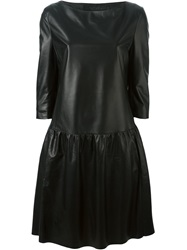 Drome Three Quarter Sleeve Leather Dress Black