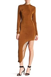 Glamorous Metallic Knit Long Sleeve Asymmetrical Dress Beige