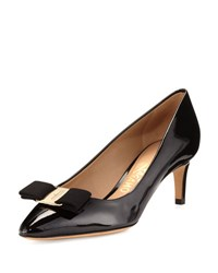 Salvatore Ferragamo Emy Patent Bow 55Mm Pump Black Nero
