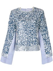 Aviu Sequin Embroidered Top Blue
