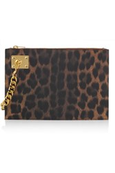 Sophie Hulme Chain Embellished Leopard Print Leather Clutch Animal Print