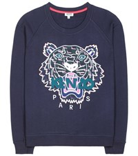 Kenzo Embroidered Cotton Sweatshirt Blue