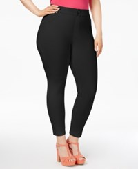 Hue Women's Plus Size Essential Denim Skimmer Leggings Black