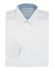 Brioni Fitted Linen Dress Shirt White