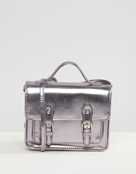 Asos Metallic Mini Satchel Bag Pewter Grey