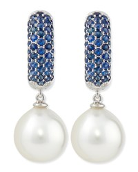 Aura Tanzanite And White Pearl Earrings Belpearl