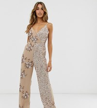 Maya Contrast Embellished Wrap Front Jumpsuit In Taupe Blush Pink