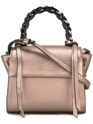 Elena Ghisellini Mini 'Angel Magic Metal' Tote Brown