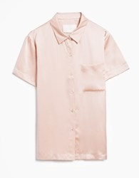 Asceno Modern Short Sleeve Pj Top In Pale Blush