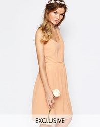 Vila One Shoulder Sash Dress Blush