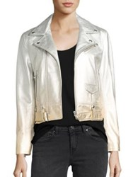 Iro Calum Ombre Metallic Leather Moto Jacket Silver Gold