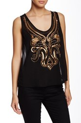 Angie Sheer Sequin Beaded Tank Black