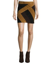 Derek Lam Colorblock Suede Mini Skirt Military Multicolor