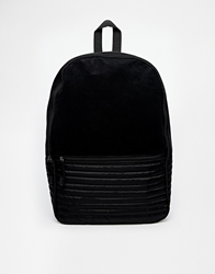 Asos Backpack With Quilted Nylon Black