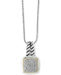 Effy Balissima By Diamond Cluster Pendant Necklace 1 5 Ct. T.W. In Sterling Silver And 18K Gold Two Tone