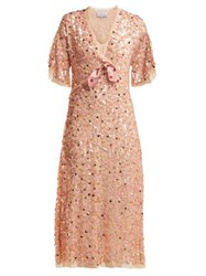Luisa Beccaria Bow Trim Sequinned Chiffon Dress Pink