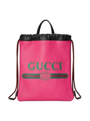 Gucci Print Small Drawstring Backpack Pink And Purple