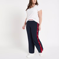 River Island Plus Navy Colour Block Popper Side Joggers