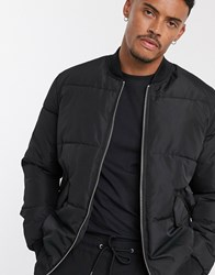 Bershka Padded Bomber Jacket In Black