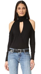Haute Hippie Song In My Heart Cold Shoulder Blouse Black