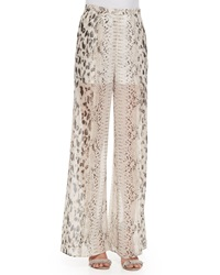 Haute Hippie High Waist Snake Print Wide Leg Pants