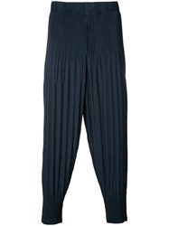 Homme Plisse Issey Miyake Long Baggy Trousers Men Polyester 3 Blue
