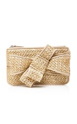 Delpozo Woven Mini Bow Clutch Neutral