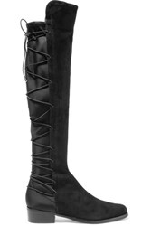 Schutz Talia Lace Up Suede And Neoprene Over The Knee Boots Black