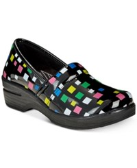 Easy Street Shoes Works By Lyndee Slip On Clogs Women's Black Multi Square Patent