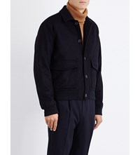 Hardy Amies Faux Fur Lined Wool And Cashmere Bomber Navy