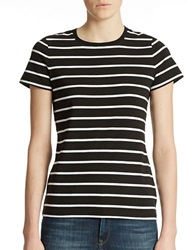 Lord And Taylor Petite Striped Crew Neck Tee Black