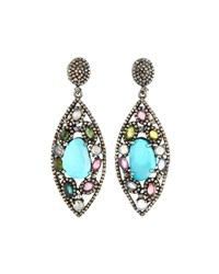 Bavna Tourmaline And Turquoise Marquise Earrings