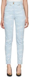 Versace Blue Logo Stamp High Waisted Jeans