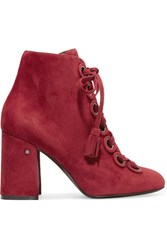 Laurence Dacade Paddle Lace Up Suede Ankle Boots Burgundy