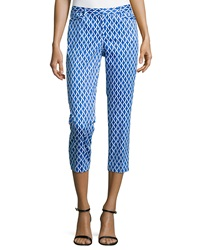Laundry By Shelli Segal Geometric Print Slim Fit Capri Pants Bright Blue Beret
