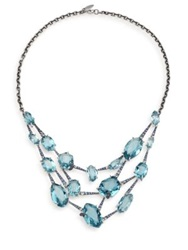 Alexis Bittar Fine Sky Marquis Blue Quartz Multicolor Sapphire And Sterling Silver Bib Necklace Silver Blue
