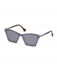 Balenciaga Squared Cat Eye Overlay Sunglasses Gray