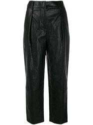 Tela Faux Leather Cropped Trousers Black