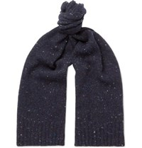Anderson And Sheppard Donegal Wool Blend Scarf Navy