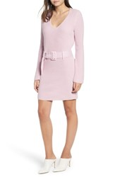 Leith Belted Sweater Dress Purple Fragrant