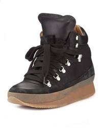 Isabel Marant Brent Lace Up Demi Wedge Sneaker Black