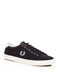 Fred Perry Underspin Herringbone Knit Lace Up Sneakers Blue