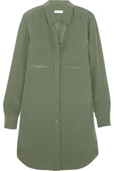 Equipment Slim Signature Washed Silk Mini Shirt Dress Army Green