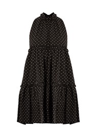 Lisa Marie Fernandez Mini Ruffle Trimmed Cotton Dress Black Multi
