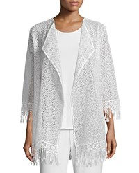 Caroline Rose Long Lace Jacket W Fringe Trim Women's White