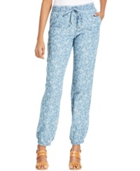 Style And Co. Floral Printed Chambray Jogger Pants Floral Wash
