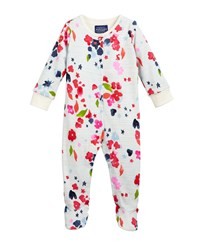 Joules Inky Floral And Stripe Footie Pajamas Size 0 12 Months Multi