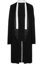 Haider Ackermann Satin Trimmed Crepe Coat Black